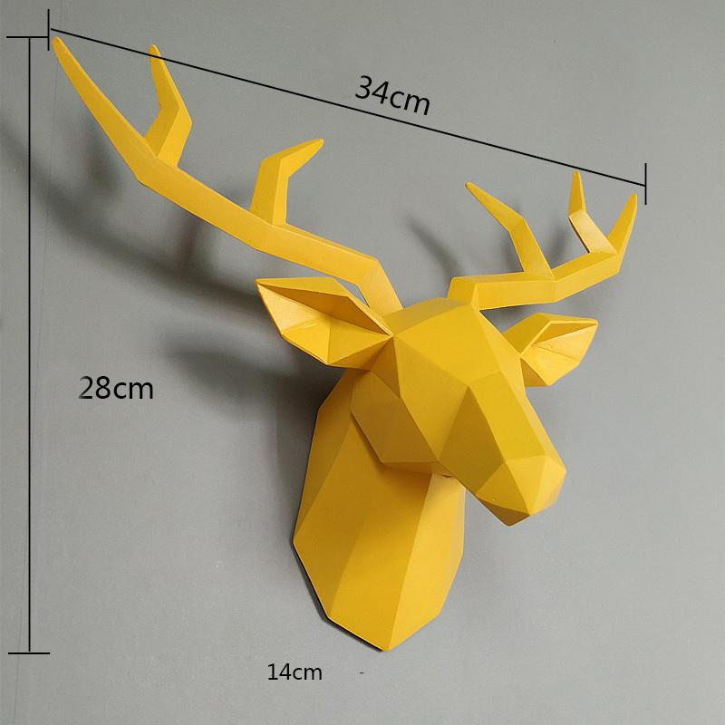 Home Statue Decoration Accessories 34x28x14cm Vintage Antelope Head Abstract Sculpture Room Wall Decor Resin Deer Head Statues T200619