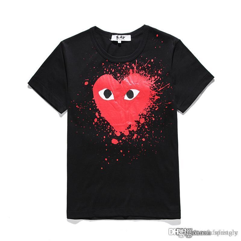 COM En Iyi Kalite des 1 Diverjans Kalp baskı T-shirt Siyah Kırmızı Kalp Boyutu M istemi karar F / S