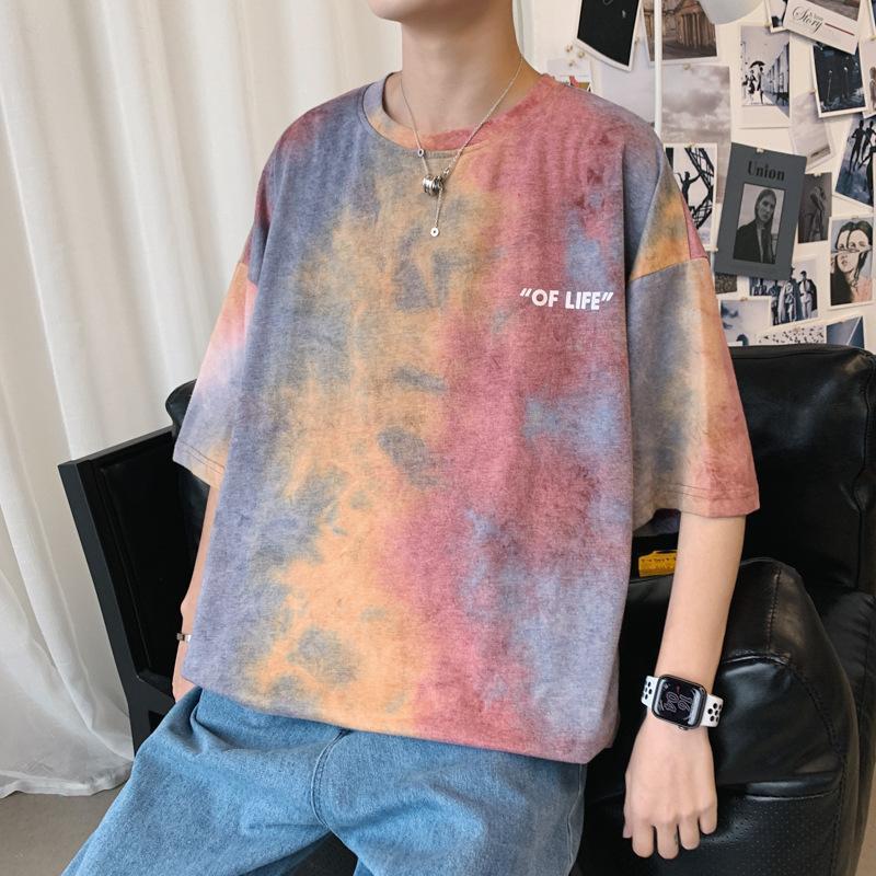 Ebaihui Summer Five-short Sleeve Tie-dye T-shirt Men's Korean Version of Loose-fitting Tshirts Lovers Half Sleeve High Street Tshirt XT12