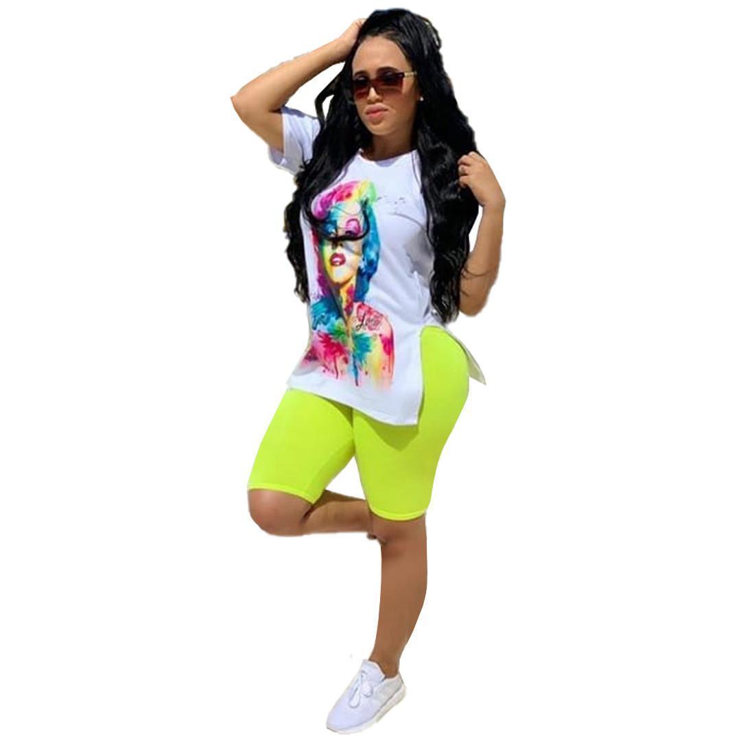 Otoño mujeres 'S Conjunto de caracteres de impresión hendidura lateral T-Camisa lápiz longitud de la rodilla pantalones de traje de dos piezas de la manera del traje del chándal de tamaño S-3XL
