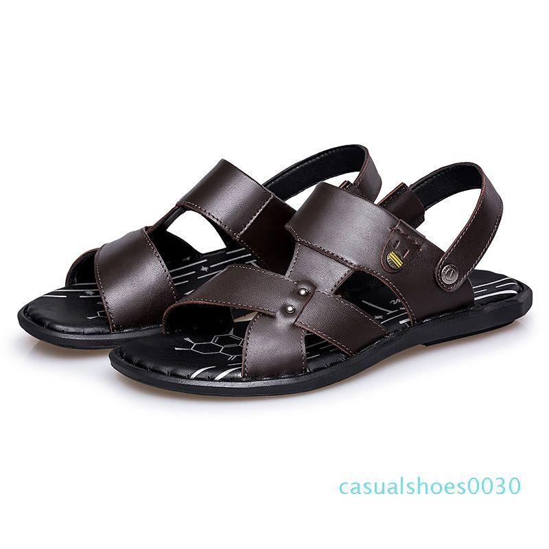 большой размером мужской вскользь кожи коровы лето приморская обуви на открытый воздух открытых сандалий ног пляжа плоского флипа-флоп черных коричневых тапочки Zapatos 30с