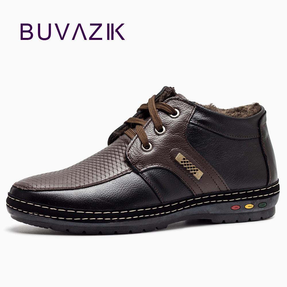 Botas de inverno dos homens para 2018 botas de neve de couro genuíno macio Impermeável e à prova de neve e não-slip Plus sapatos quentes de caxemira