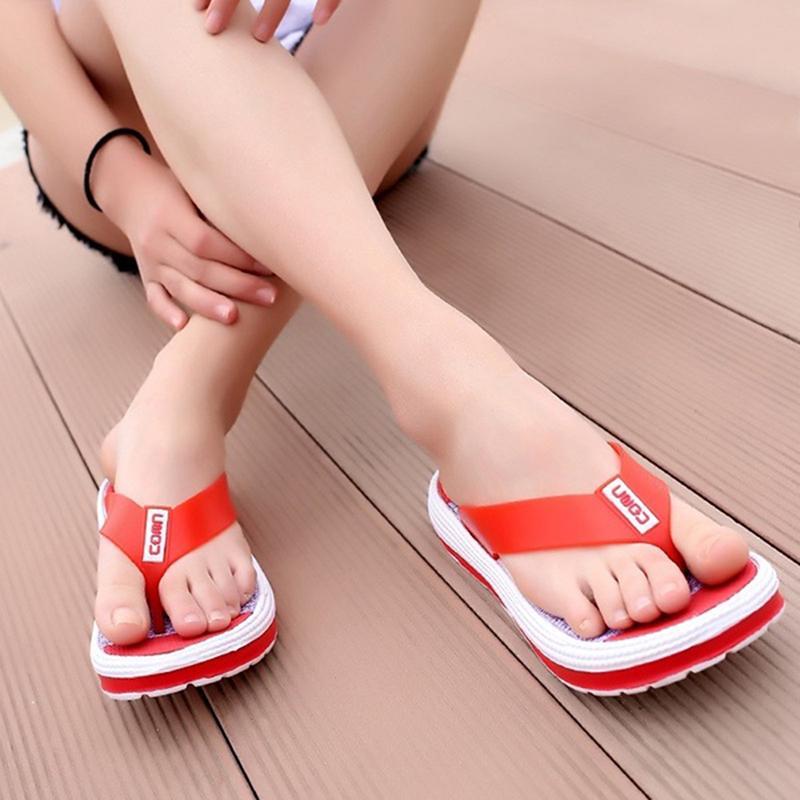 Rahat yaz Gökkuşağı renk Flip flop kadınlar Kapalı Açık kat No-kayma ayakkabı rahat düz Plaj terlik