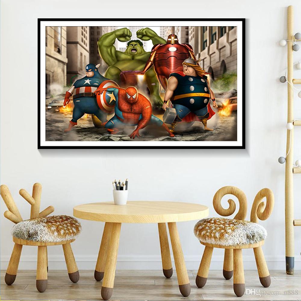 SUPERHEROS-2 الأعجوبة دي سي كوميكس الساخن الفيلم زيت صورة زيتية جدار الفن الحديث ديكور المنزل قماش اللوحة جدار صور لغرفة الجلوس 191002