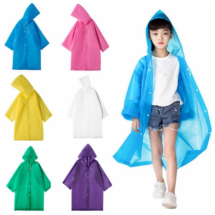 Reusable Raincoat with Hat Children Travel Camping Must Rainwear EVA Unisex Raincoat Fashion Suitable for Height 90-150cm Kids HHA1263
