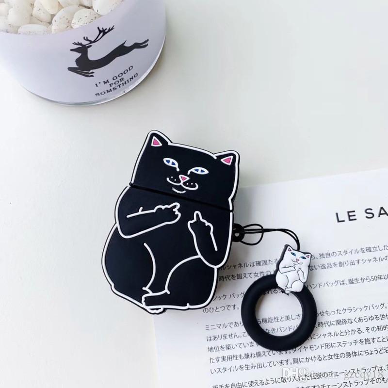 2020 3d Middle Finger Cat Wireless Bluetooth Earphone Case For