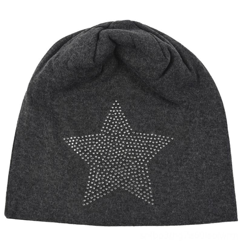 Unisex Мужчины Женщины Классические звезды Rhinestone Slouch Beanie Cap Hat хлопок Темно-серый шапки шапки шапки, шарфы перчатки