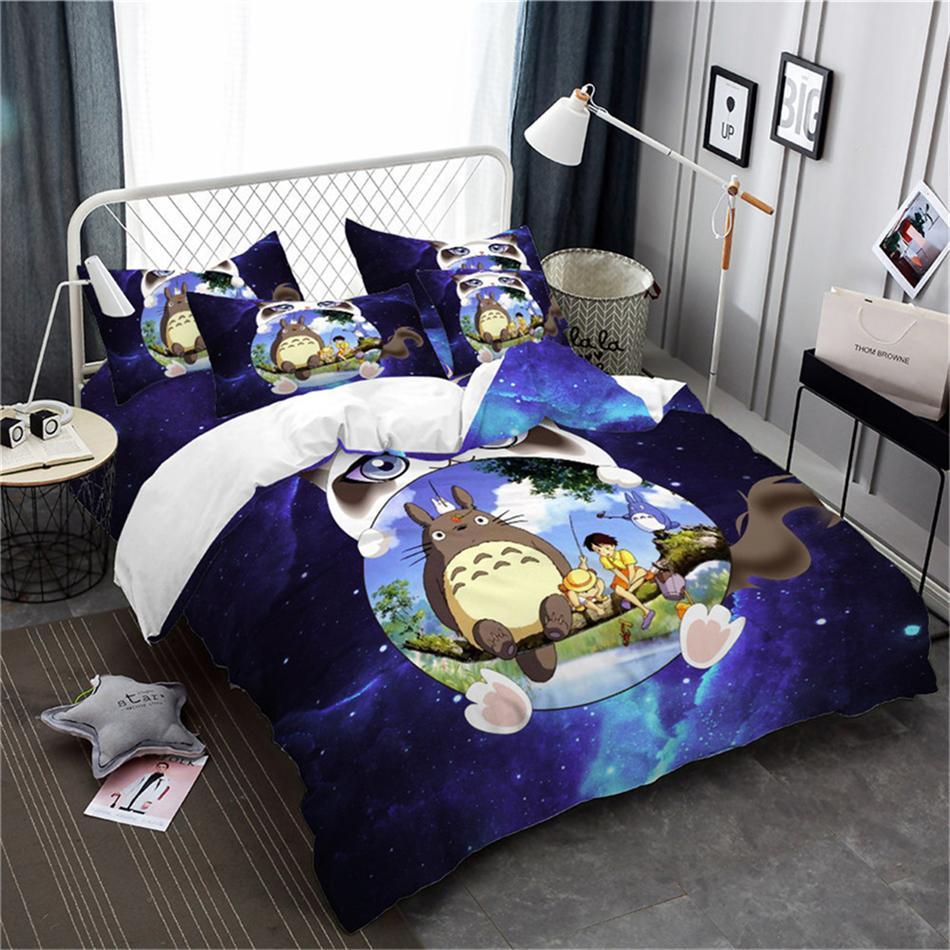 3D Totoro Duvet Cover Dark Blue Galaxy Bedding Cartoon Cat Print Bedding Set Child Bedclothes Twin Full Queen King Quilt Cover