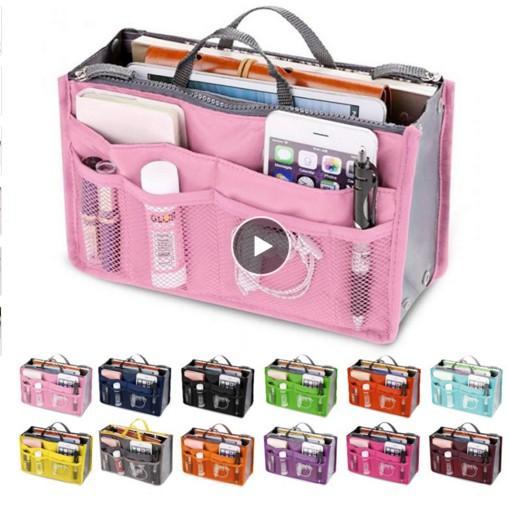 13 الألوان منظم إدراج حقيبة المرأة نايلون سفر منظم حقيبة يد محفظة قدرة كبيرة سيدة ماكياج حقيبة مستحضرات التجميل رخيصة أنثى حمل