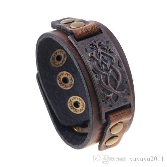 11styles Vintage Braided Leather Bracelet Brown Punk Wide Cuff Hollow Bracelet Bangles For Men Women Jewelry Friendship Gift pksp6-7