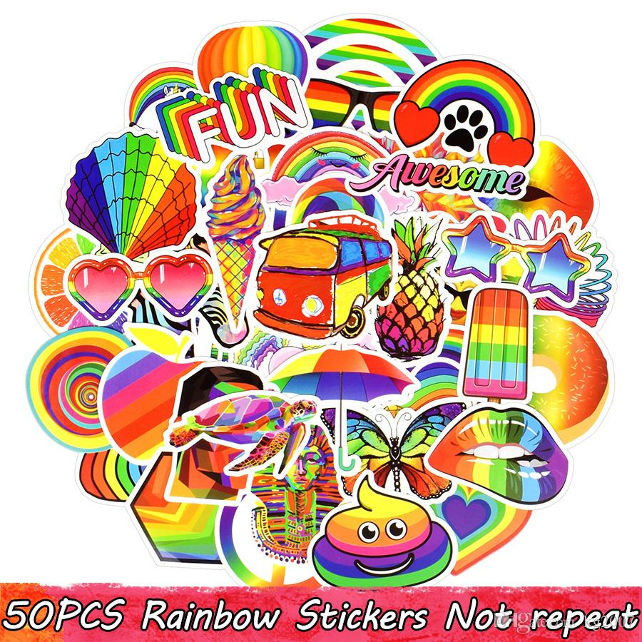 50 PCS Waterproof Rainbow Stickers for Kids Teens Adults to DIY Laptop Tablet Luggage Water Bottle Snowboard Guitar Car Home Decoration