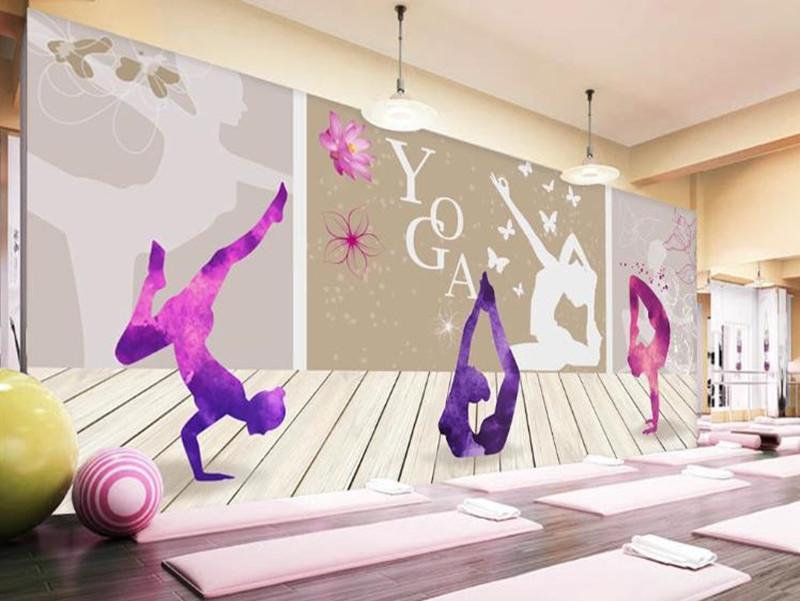 murales personalizados 3d de fotos papel tapiz pintura europea y la pared de fondo gimnasia yoga pintado a mano de la moda estadounidense decorativo 3d fondo de pantalla mural