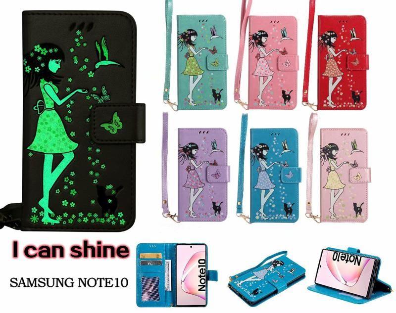 Lumineux Glow In Dark COUVERTURE carte papillon étui portefeuille pour Iphone 11 pro max XR XS MAX 6 7 8 plus Samsung S10 PLUS S10E note10