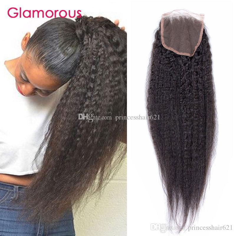 Glamorous Mongolian Cambodian Human Hair Closure 8-24Inch Light Yaki Kinky Straight 4x4 Lace Closure Peruvian Indian Brazilian Hair Closures