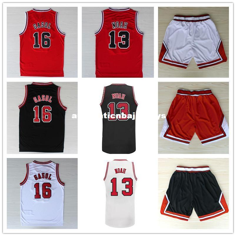 Pau Gasol #16 Joakim Noah #13 Basketball Jersey, Top Quality Stitched logos Men's Basketball Jersey Black Red And White Ncaa College