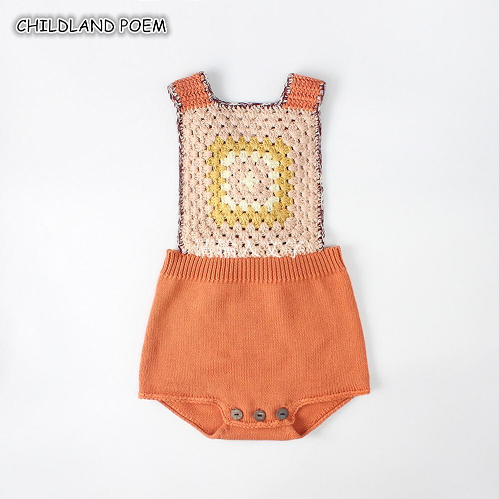 Knitted Rompers For Babies Spring Autumn Girl Baby Romper Set Infant Boys Clothes Jumpsuit Woolen Vintage Baby Clothes Overalls J190524