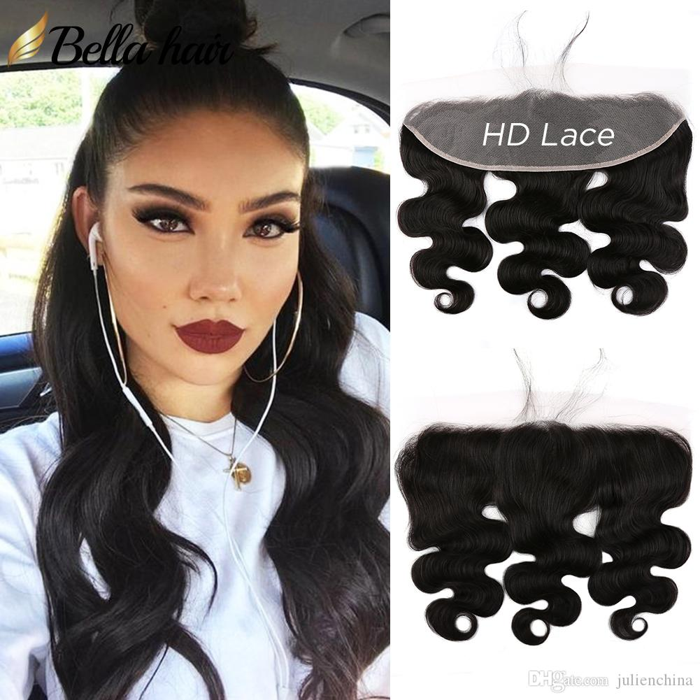 HD Transparent/Brown Lace Frontal Closure Brazilian Body wave 4*13 Ear Human Hair Extensions BellaHair