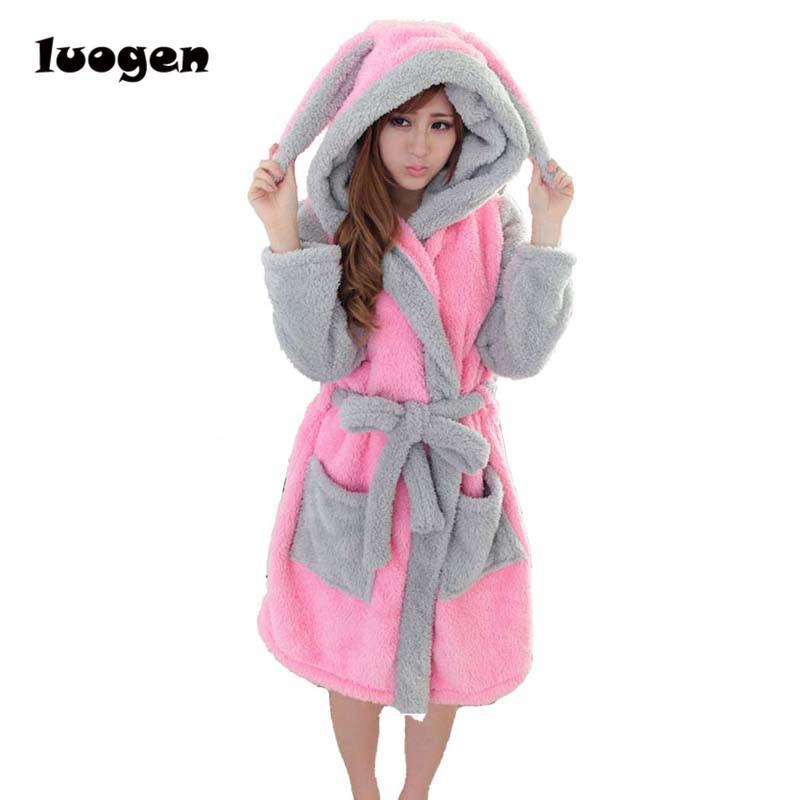 Winter Flannel Cartoon Robes for women Long Sexy robe Bathrobe Women Nightgown Hoodie Rabbit Stitch Cow Seep Animal Sleep Robe T200420