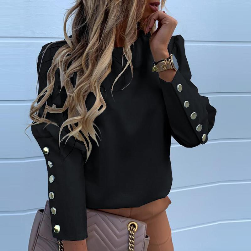 All'ingrosso-2019 Work Wear camicette delle donne manica lunga Torna metallo bottoni della camicia casual o collo Solid Plus Size Tops Autunno camicetta Drop Shipping