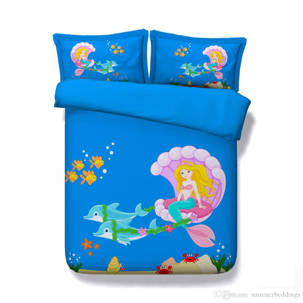 Dolphin bed set Cartoon Mermaid Duvet Cover Set Kids Girls Ocean Sea Bed Comforter Cover 3 Piece Galaxy Bedding Set With 2 Pillow Shams Bed