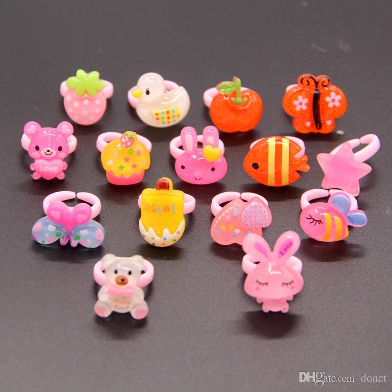 new fashion mix styles Lovely little girl Rabbit Flower Fish Hat Bear Bow cat Colorful children's rings Cartoon resin Ring