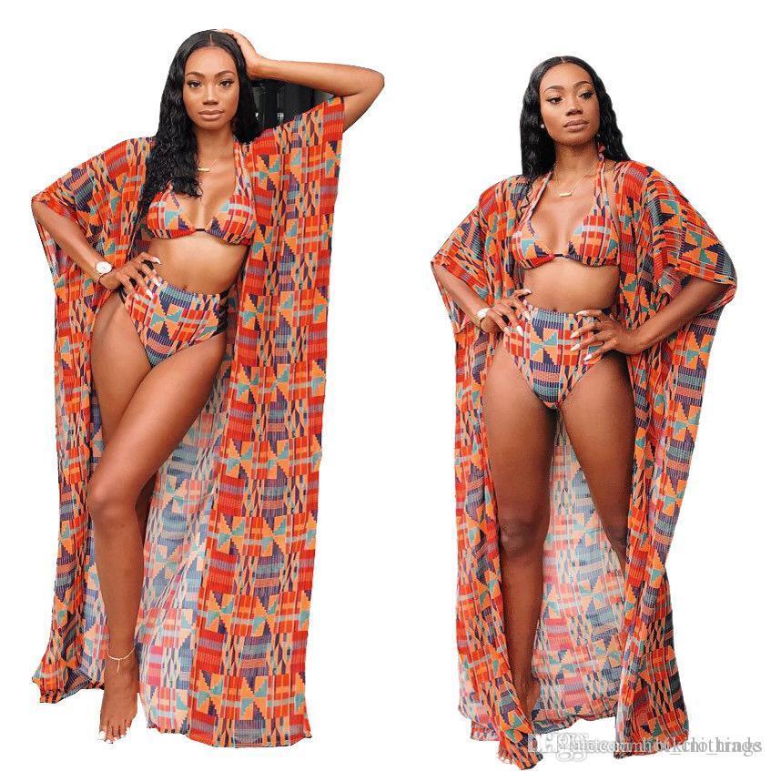 Summer Sexy Beach 3 Piece Set For Women Halter Bikini Top And Mini Pants And Full Sleeve Maxi Chiffon Coat Printed Swimwear