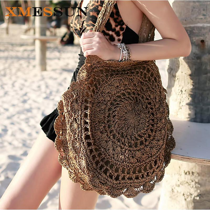 2019 Bohemian Straw Bags For Women Big Circle Beach Handbags Summer Vintage Rattan Bag Handmade Kintted Travel Bags C78
