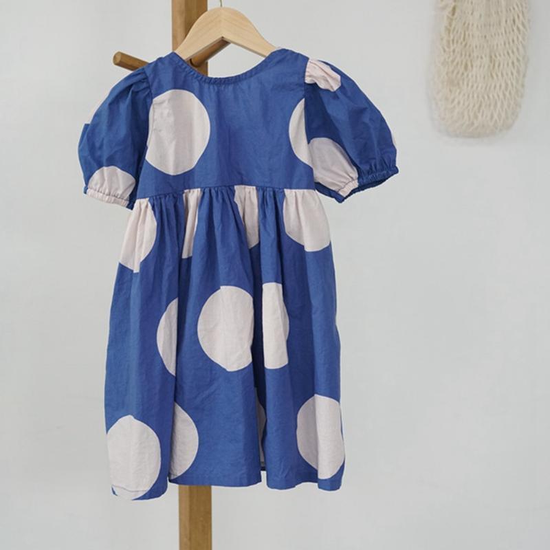 CHICO KIDS 2020 키즈 걸스 원형 도트 블루 U 칼라 짧은 소매 드레스, 유아 퍼프 슬리브 도트 드레스