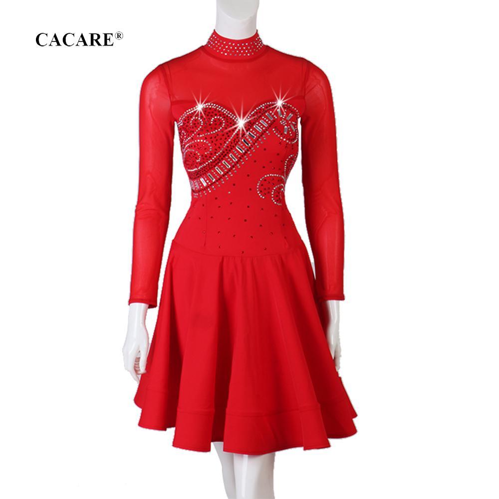 Latin Dance Dress Women Elegant CHEAPEST Rhinestones D0722 Salsa Dance Wear Lyrical Dance Costumes Ruffled Hem Mesh Sleeve