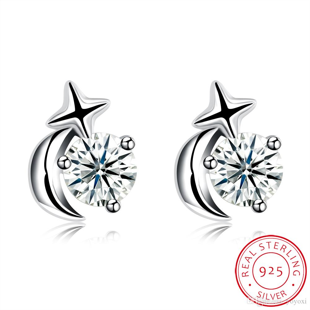 2019New Simple Style De Mode Sterling Star Boucles D'oreilles Pour Femmes Hommes De Luxe Boho Blanc Zircon Pur Argent Vintage Géométrique Bijoux En Gros