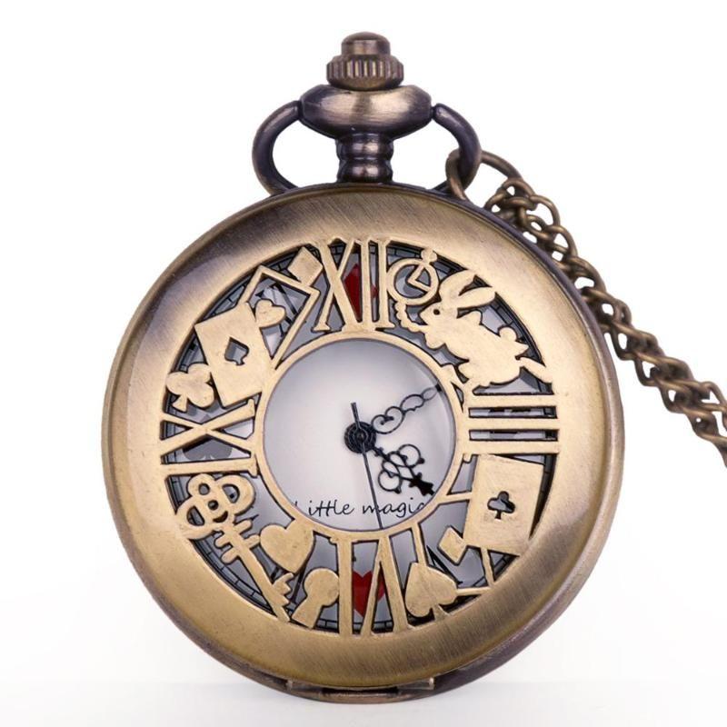 Горячая продажа Бронзовый Кварц Fob Часы Алиса в стране чудес подарок PocketFob часы ожерелье карманного Мэнь Женской