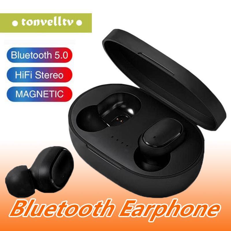 Akıllı cep telefonu için mikrofonlu TWS A6S Bluetooth Kulaklık Kulaklık Bluetooth 5.0 Kablosuz Kulaklık Hayat Su geçirmez Bluetooth Kulaklık