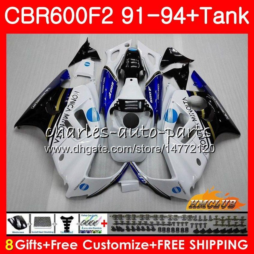 Body + Tank für HONDA CBR 600F2 CBR600FS CBR 600 FS F2 91 92 93 KONICA blau 94 40HC.132 600cc CBR600 F2 CBR600F2 1991 1992 1993 1994 Verkleidungs