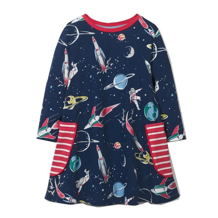 Осень Зима Новый стиль Европейский и американский стиль бренда Childrenswear GIRL'S Трикотажное платье с длинным рукавом Stripes Childrenswear