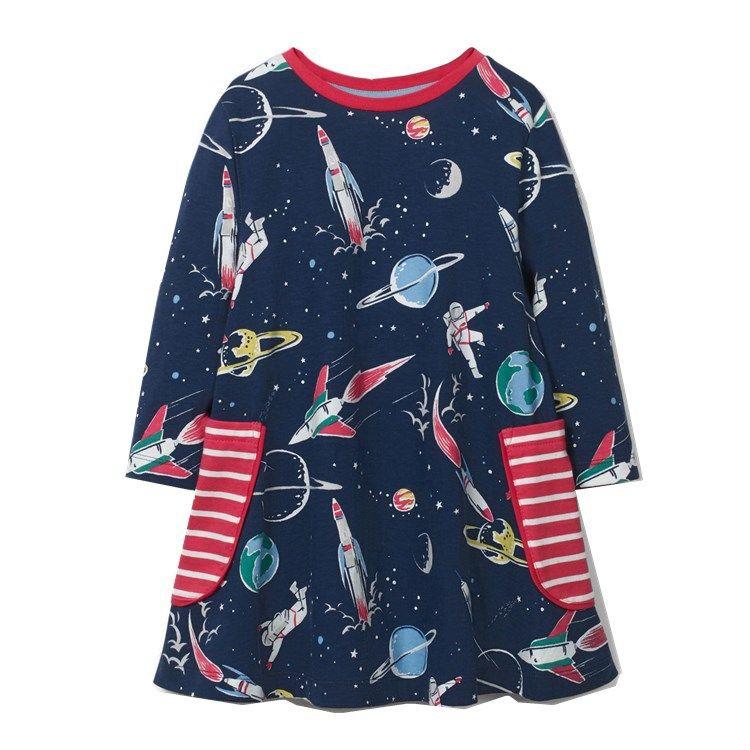 Nouvelle Automne Hiver style européen et américain de style Marque Childrenswear FILLE Robe en maille à manches longues à rayures Childrenswear