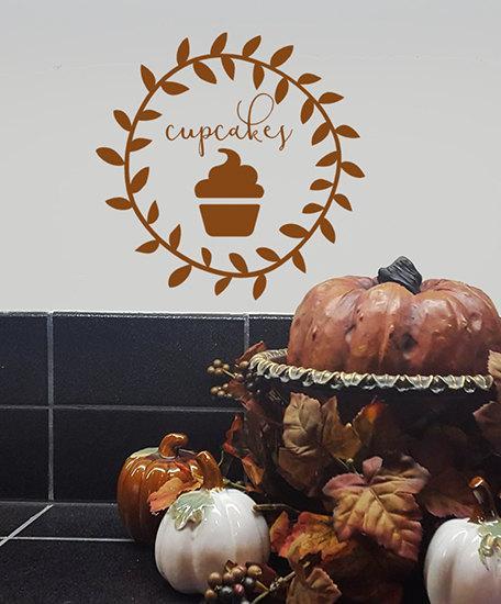 Patrón cocina Vinilos Adhesivos Magdalena Tatuajes de pared para niños Sala de juegos Salas de la decoración de la panadería linda decoración casera mural del arte