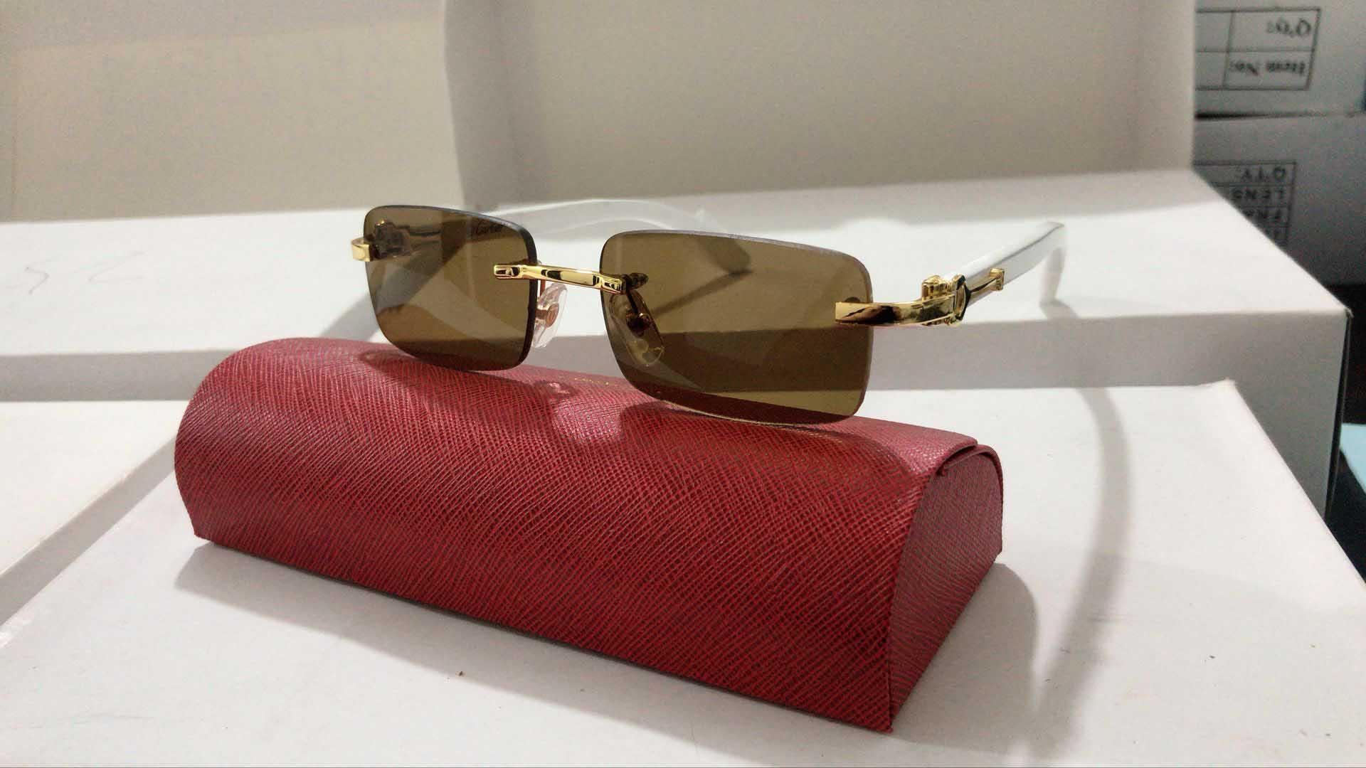 Al por mayor gafas de sol de las mujeres de los hombres sin rebordes de época de verano del ojo de gato del estilo de la marca del diseñador cuerno de búfalo Glasses Gafas populares