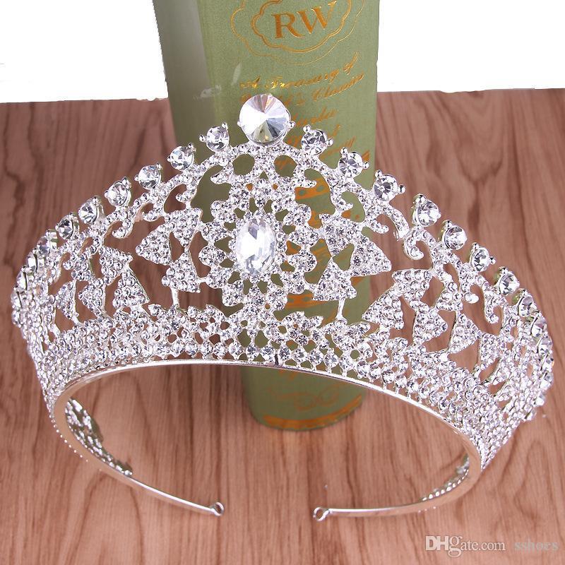 뉴 블링 웨딩 크라운 다이어 뎀 티아라 크리스탈 우아한 여성 왕관과 크라운의 경우 선발 대회 파티