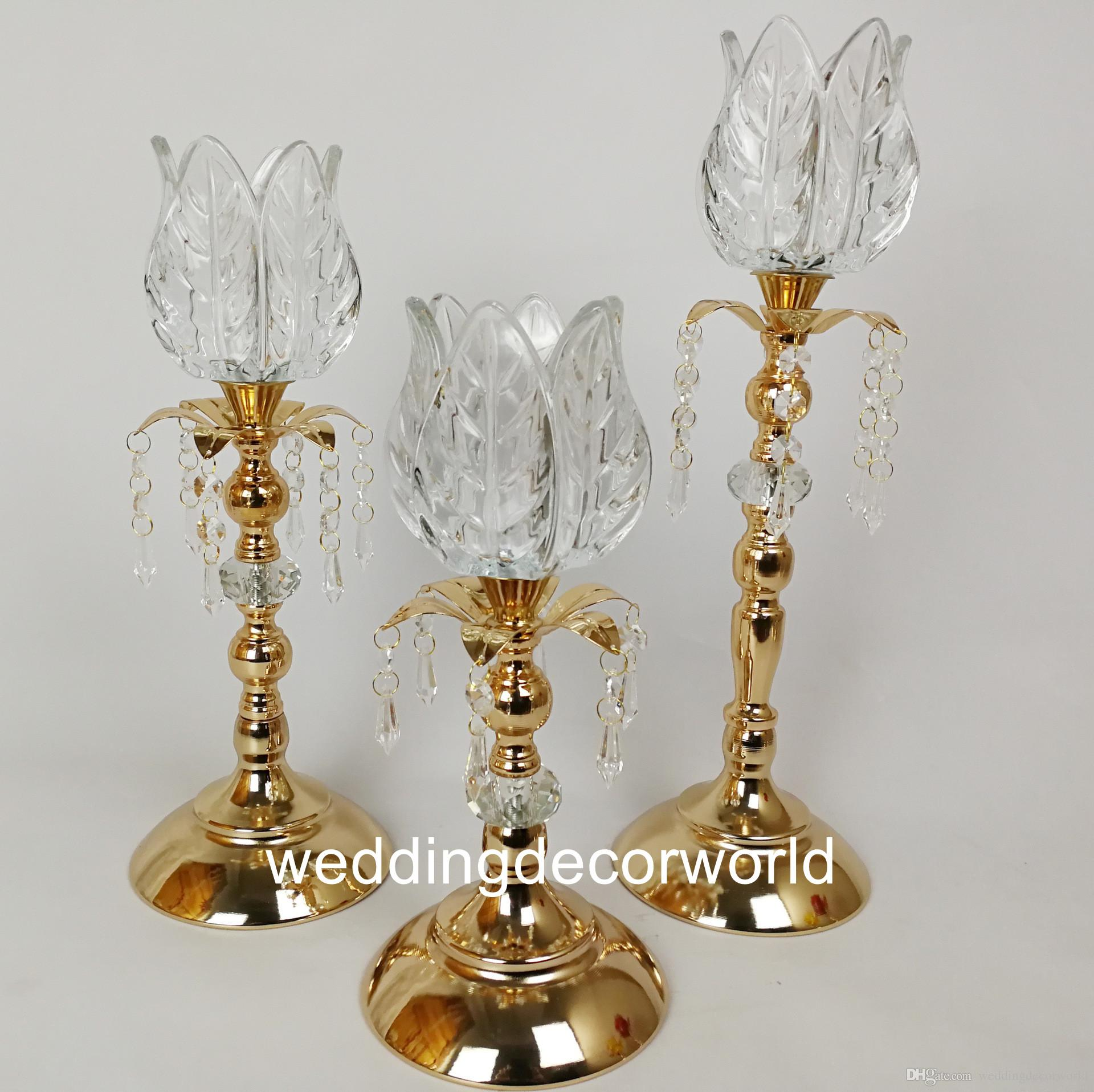 New styleGold Flower Vases Candle Holders Stand Wedding Decor Road Lead Table Centerpiece Rack Pillar Party Candlestick Candelabra decor0827