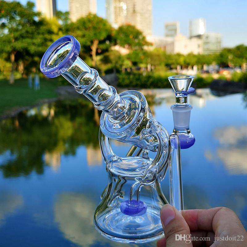 7 Inch Green Purple Recycler Bongs Sidecar Water Pipes Dab Rig Showerhead Percolator Oil Rigs 14mm Joint With Heady Bowl
