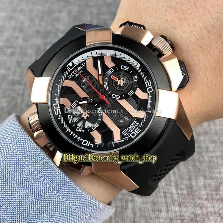 أفضل نسخة EPIC X كرونو CR7 الأسود / روز الذهب الهيكل العظمي الطلب اليابان VK كوارتز كرونوغراف حركة الرجال ووتش الشريط المطاطي الساعات الرياضية