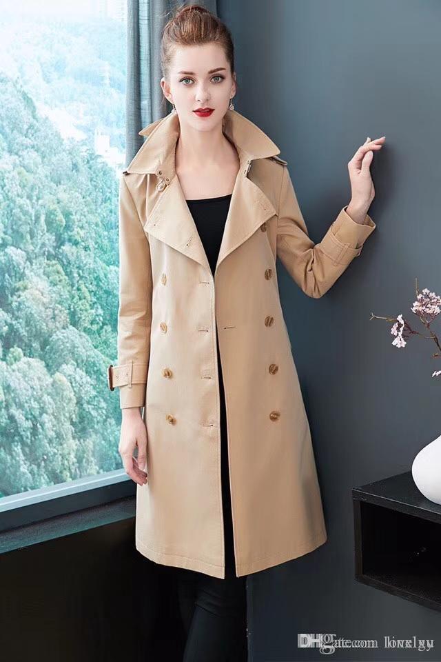 Trench-Coats Femme Ceinture longue coupe-vent à double boutonnage imperméable British Slim Coat Nouveau style anglais haut de gamme 38 M