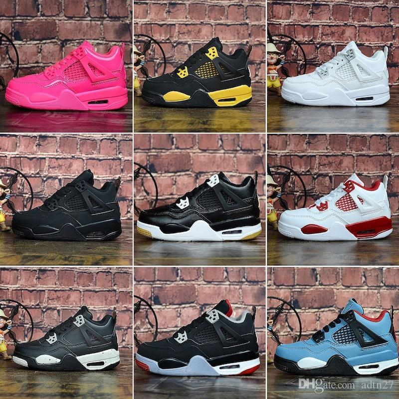Nike Air Jordan 4 Kinder Basketball Schuhe J4 4s White Cement Bred Fire Red Sport Turnschuhe Jack University Blue Trail Walking Laufschuhe