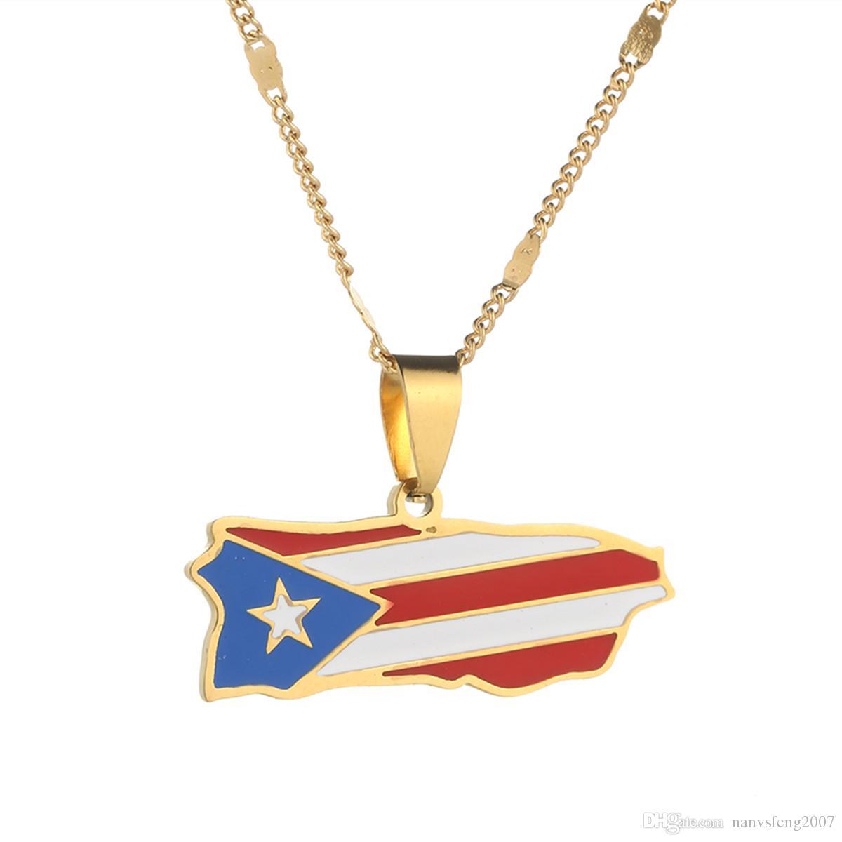 Edelstahl Emaille Puerto Rico Karte hängende Halskette für Frauen Männer Puertoricaner Karte Kette Schmuck