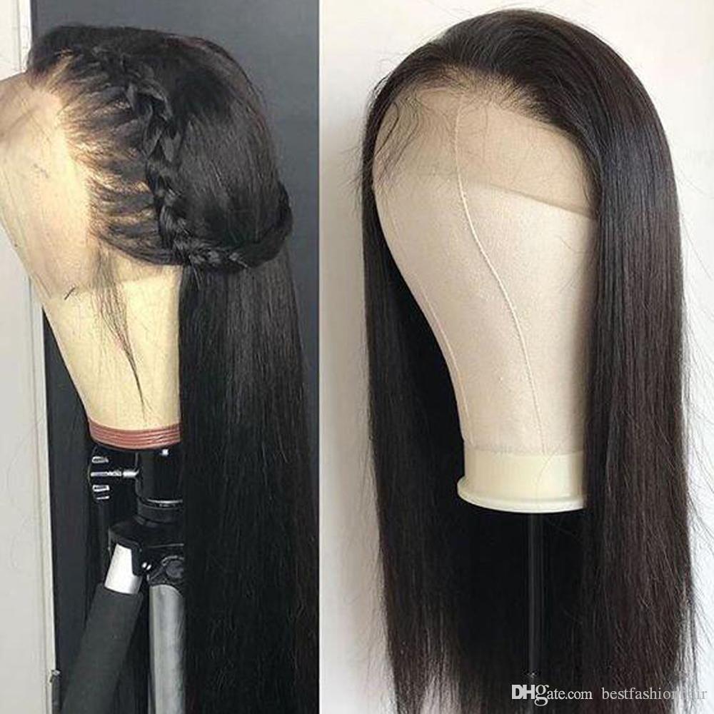 360 frontal del cordón completo recta pelucas del pelo humano virginal peruana sin cola recta del frente del cordón del cabello humano 360 peluca Negro Para Mujeres