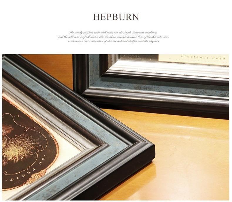 Винтажная классическая рамка для фотографий темный цвет качественная деревянная фоторамка настенная 8шт набор фоторамки с овальными часами Fotos