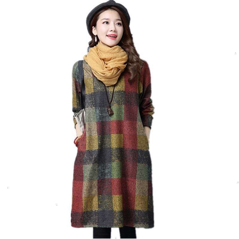 Plus Size Plus Size Kleid langärmlige Baumwollwollweinlese-Frauen-beiläufige losen Midi-Herbst Kleid Elegant Chiffon Kleider 2019 Kleider