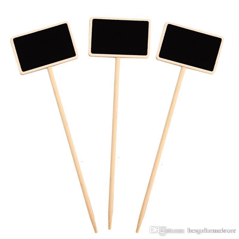 Mini etiqueta do quadro de madeira creativo Partido Quadro Negro Memo Tags Porta Plantas Flores Preço casamento Tag Jardim Detalhes Mensagem Cartão BH2349 ZX