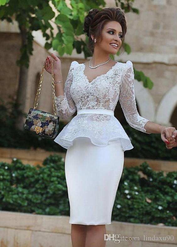 Peplum White Sheath Mother Of The Bride Dresses V Neck 3/4 Long Sleeve Lace  Appliqued Wedding Guest Dress Mother Of The Bride Dresses Plus Sizes ...