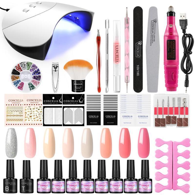 Профессиональные ногтей лампы Все инструменты для маникюра Nail Gel Набор Art Salon / DIY At Home Kit с буровой машины